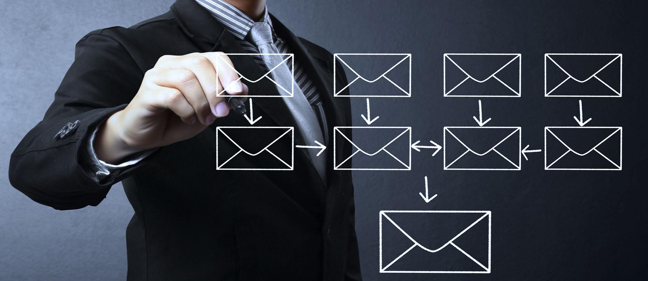 18839486 - businessman writing e-mail schema on whiteboard